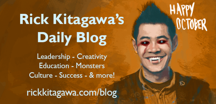 Rick Kitagawa's blog halloween illustration of a scary version of the author