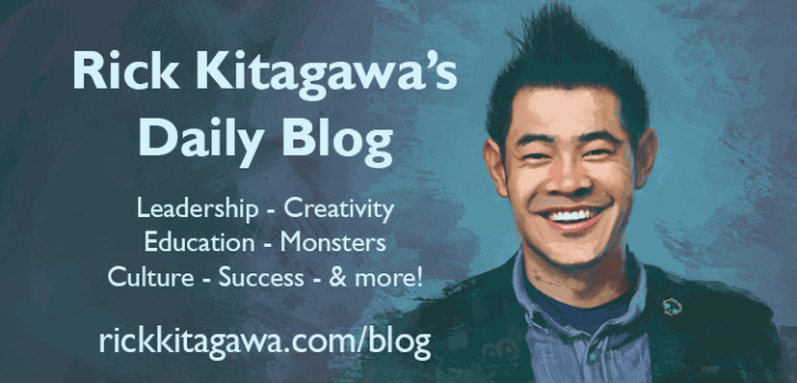a painting of the author, the description of the blog, and his URL: rickkitagawa.com/blog
