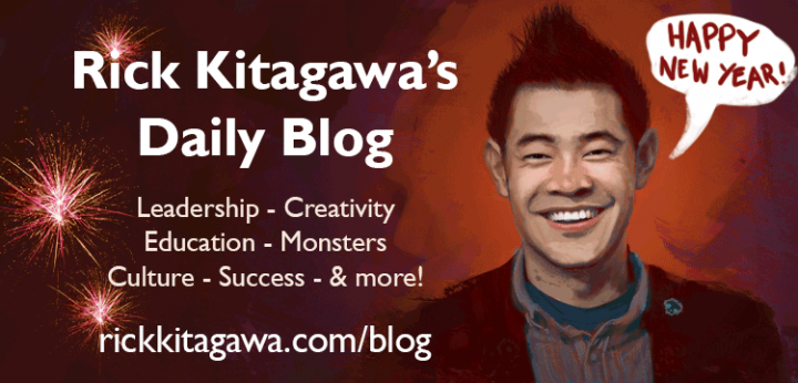 An illustration of the author with fireworks and a speech bubble wishing a Happy New Year - Rick Kitagawa's daily blog