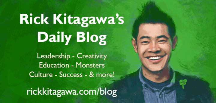 An illustration of the author in a field of green with a shamrock pin - Rick Kitagawa's daily blog